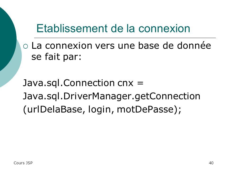 Cours JSP40 Etablissement de la connexion La connexion vers une base de donnée se fait par: Java.sql.Connection cnx = Java.sql.DriverManager.getConnec