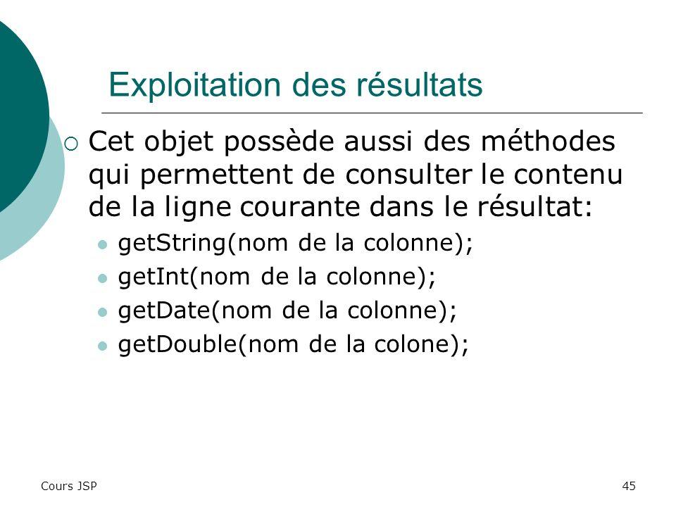 Cours JSP45 Exploitation des résultats Cet objet possède aussi des méthodes qui permettent de consulter le contenu de la ligne courante dans le résult