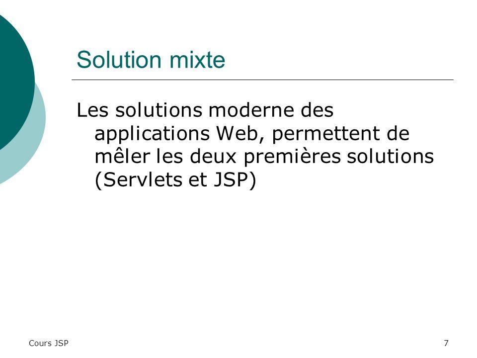 Cours JSP7 Solution mixte Les solutions moderne des applications Web, permettent de mêler les deux premières solutions (Servlets et JSP)