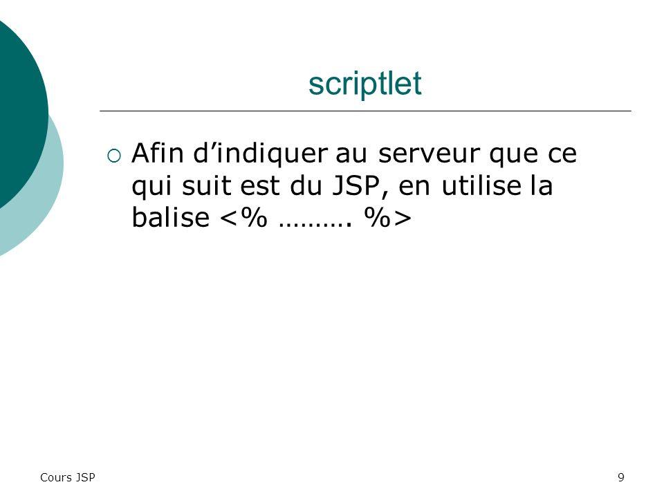 Cours JSP30 Exemple <% String nbLignesCh = request.getParameter(nblignes); Int nbLignes = Integer.parseInt(nbLignesCh); %>