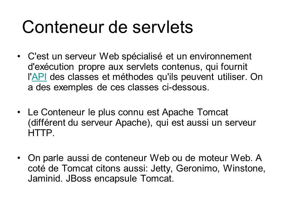 Conteneur de servlets C'est un serveur Web spécialisé et un environnement d'exécution propre aux servlets contenus, qui fournit l'API des classes et m