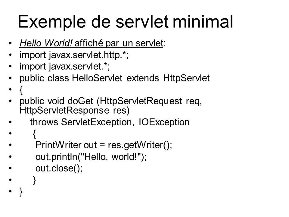 La requête et la réponse (suite) MéthodeRôle SetContentTypePermet de préciser le type MIME de la réponse ServletOutputStream getOutputStream() Permet d obtenir un flux pour envoyer la réponse PrintWriter getWriter()Permet d obtenir un flux pour envoyer la réponse L interface ServletResponse définit plusieurs méthodes qui permettent de fournir la réponse faite par la servlet suite à ces traitements :