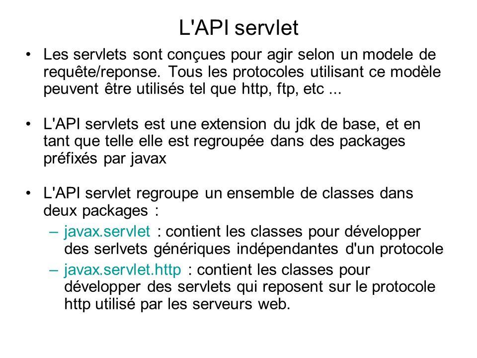 Le package javax.servlet définit plusieurs interfaces, méthodes et exceptions : javax.servletNom Rôle Les interfaces RequestDispatcherDéfinition d un objet qui permet le renvoi d une requête vers une autre ressource du serveur (une autre servlet, une JSP...) ServletDéfinition de base d une servlet ServletConfigDéfinition d un objet pour configurer la servlet ServletContextDéfinition d un objet pour obtenir des informations sur le contexte d execution de la servlet ServletRequestDéfinition d un objet contenant la requête du client ServletResponseDéfinition d un objet qui contient la reponse renvoyée par la servlet SingleThreadModelPermet de définir une servlet qui ne répondra qu à une seule requête à la fois Les classes GenericServletClasse définissant une servlet indépendante de tout protocole ServletInputStreamFlux permet la lecture des donnes de la requête cliente ServletOutPutStreamFlux permettant l envoie de la reponse de la servlet
