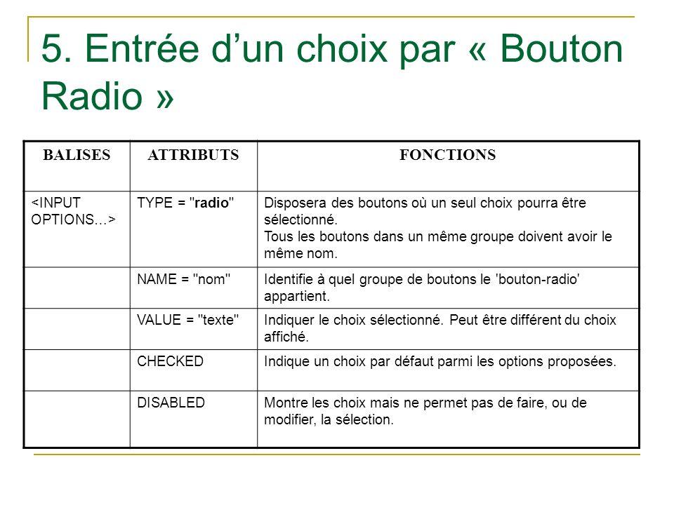 5. Entrée dun choix par « Bouton Radio » BALISESATTRIBUTSFONCTIONS TYPE =