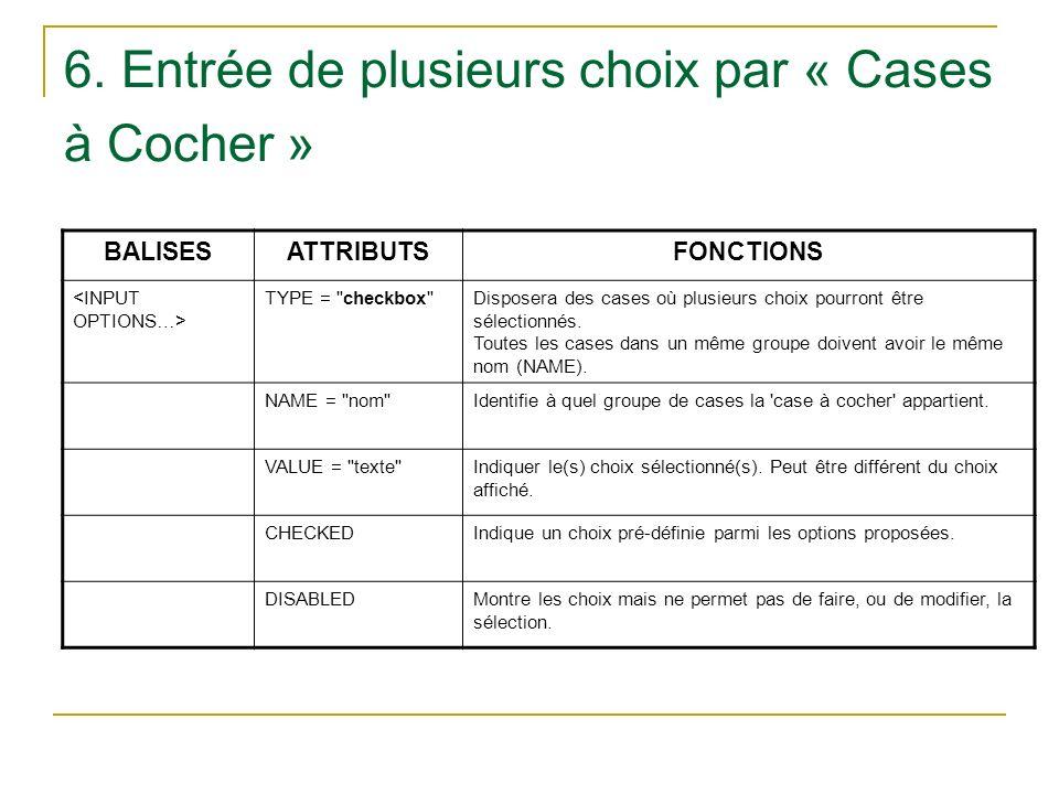 6. Entrée de plusieurs choix par « Cases à Cocher » BALISESATTRIBUTSFONCTIONS TYPE =