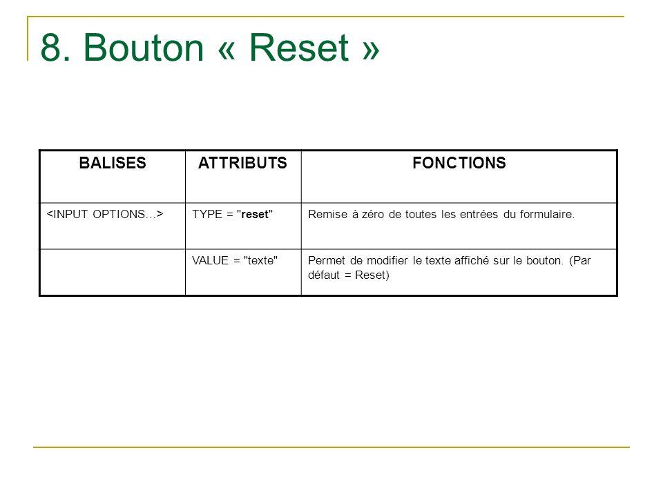 8. Bouton « Reset » BALISESATTRIBUTSFONCTIONS TYPE =