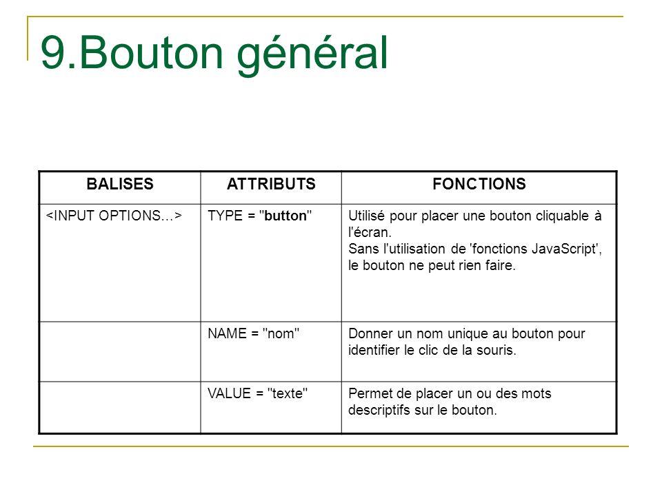 9.Bouton général BALISESATTRIBUTSFONCTIONS TYPE =