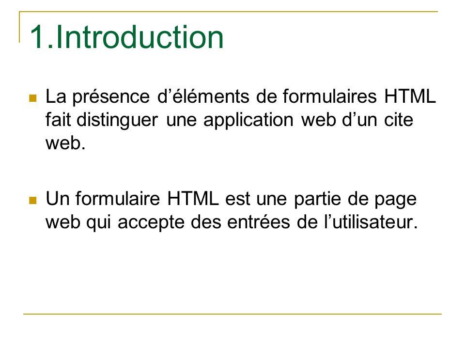 1.Introduction La présence déléments de formulaires HTML fait distinguer une application web dun cite web. Un formulaire HTML est une partie de page w