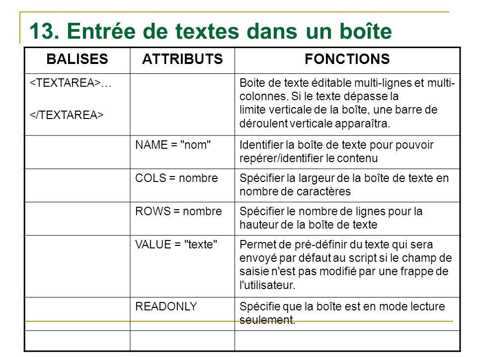 13. Entrée de textes dans un boîte BALISESATTRIBUTSFONCTIONS … Boite de texte éditable multi-lignes et multi- colonnes. Si le texte dépasse la limite