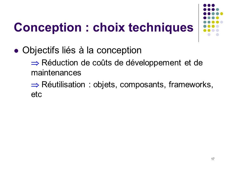 17 Conception : choix techniques Objectifs liés à la conception Réduction de coûts de développement et de maintenances Réutilisation : objets, composa