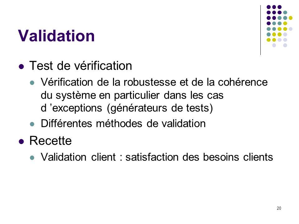 20 Validation Test de vérification Vérification de la robustesse et de la cohérence du système en particulier dans les cas d exceptions (générateurs d