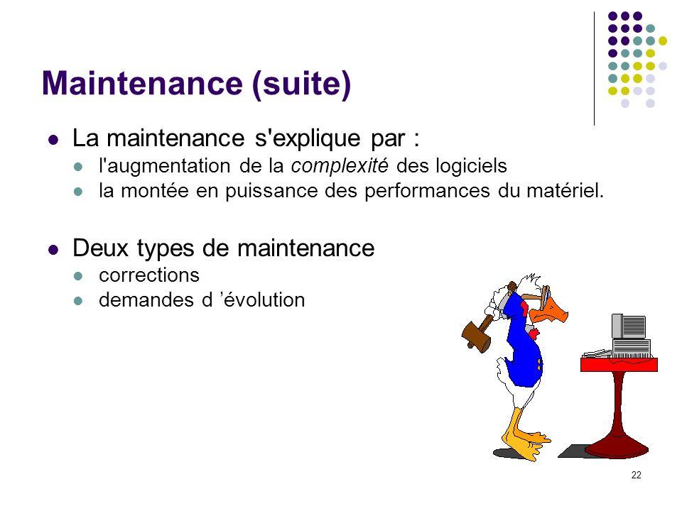 22 Maintenance (suite) La maintenance s'explique par : l'augmentation de la complexité des logiciels la montée en puissance des performances du matéri
