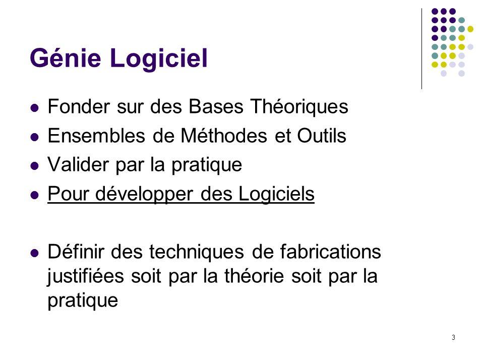 3 Génie Logiciel Fonder sur des Bases Théoriques Ensembles de Méthodes et Outils Valider par la pratique Pour développer des Logiciels Définir des tec