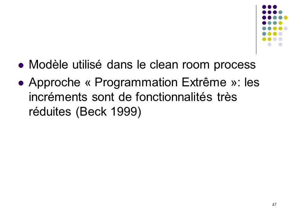 47 Modèle utilisé dans le clean room process Approche « Programmation Extrême »: les incréments sont de fonctionnalités très réduites (Beck 1999)