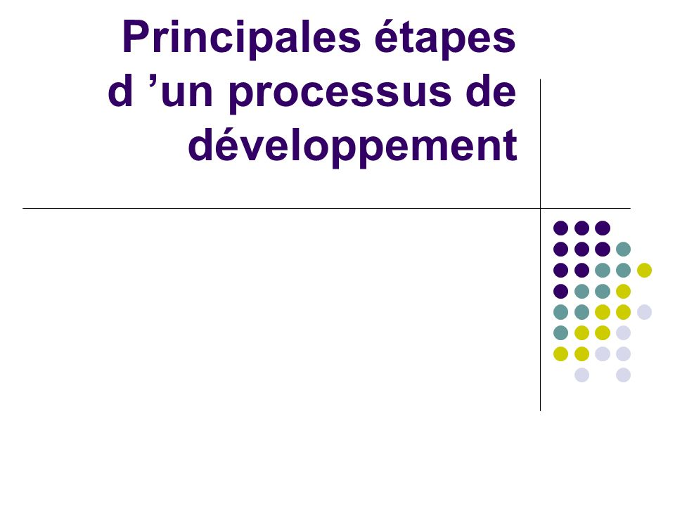 Principales étapes d un processus de développement