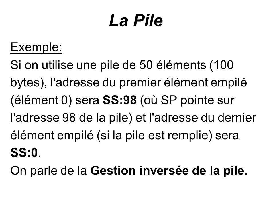 La Pile Exemple: Si on utilise une pile de 50 éléments (100 bytes), l'adresse du premier élément empilé (élément 0) sera SS:98 (où SP pointe sur l'adr