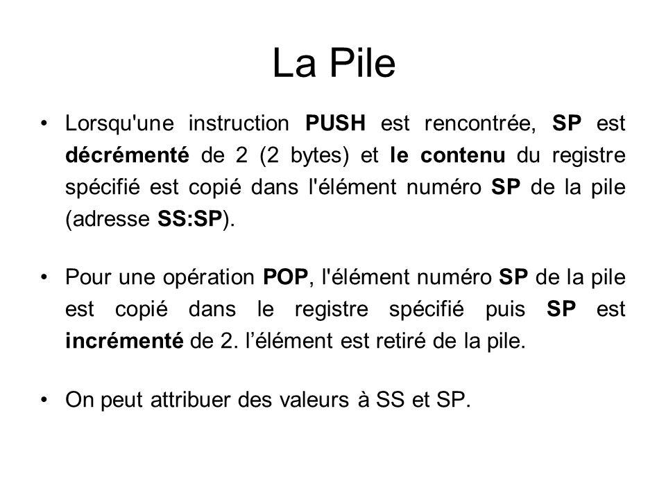 La Pile Lorsqu'une instruction PUSH est rencontrée, SP est décrémenté de 2 (2 bytes) et le contenu du registre spécifié est copié dans l'élément numér