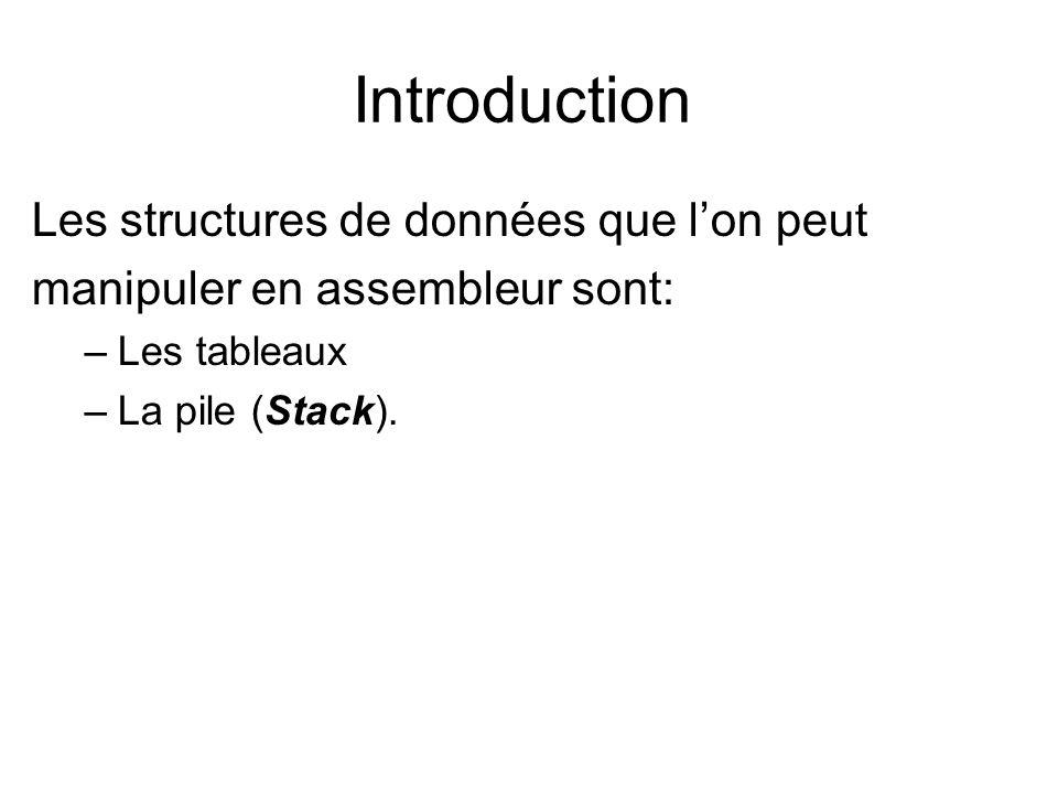 La Pile Lorsqu une instruction PUSH est rencontrée, SP est décrémenté de 2 (2 bytes) et le contenu du registre spécifié est copié dans l élément numéro SP de la pile (adresse SS:SP).