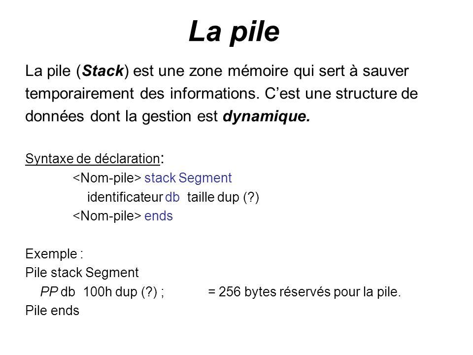 La pile La pile (Stack) est une zone mémoire qui sert à sauver temporairement des informations. Cest une structure de données dont la gestion est dyna