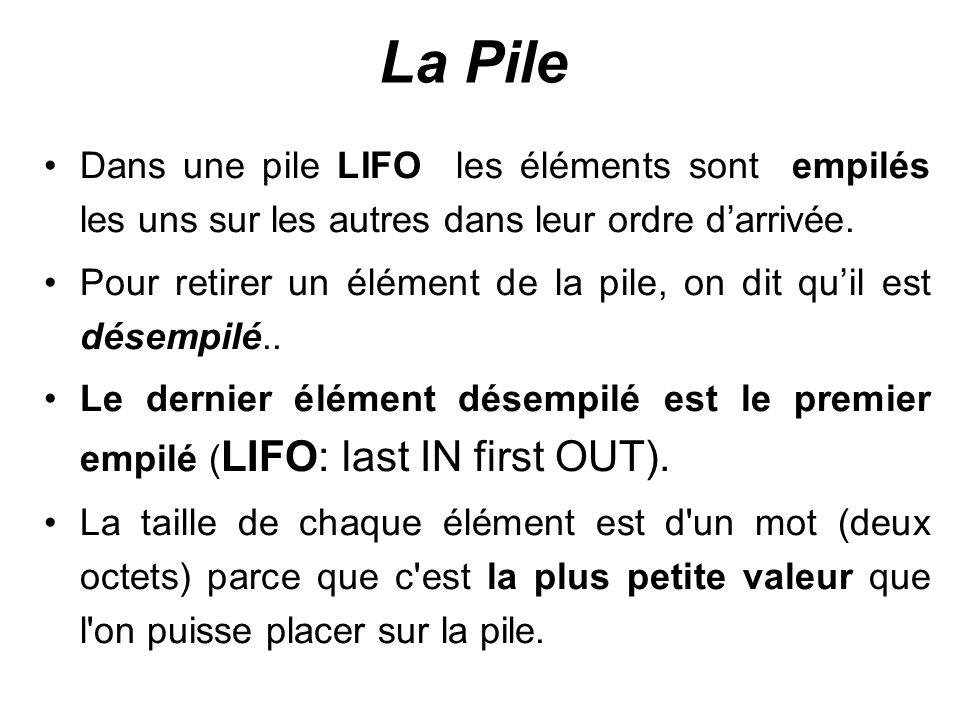 La Pile Le registre de segment SS pointe sur le début de la pile le registre SP indique la position du dernier élément placé sur cette pile.