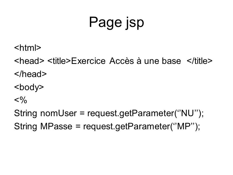 Page jsp Exercice Accès à une base <% String nomUser = request.getParameter(NU); String MPasse = request.getParameter(MP);