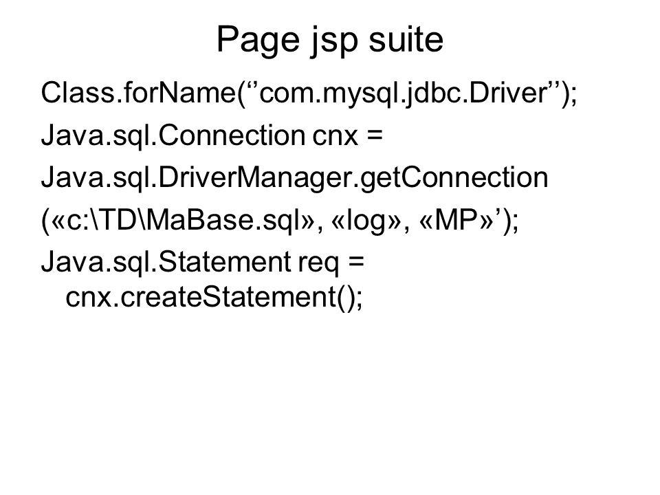 Page jsp suite Class.forName(com.mysql.jdbc.Driver); Java.sql.Connection cnx = Java.sql.DriverManager.getConnection («c:\TD\MaBase.sql», «log», «MP»);