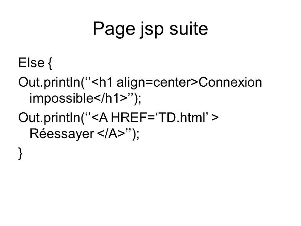 Page jsp suite Else { Out.println( Connexion impossible ); Out.println( Réessayer ); }