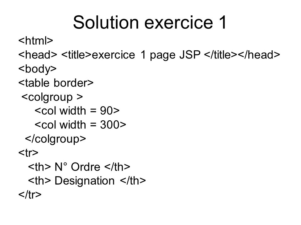 Solution exercice 1 exercice 1 page JSP N° Ordre Designation