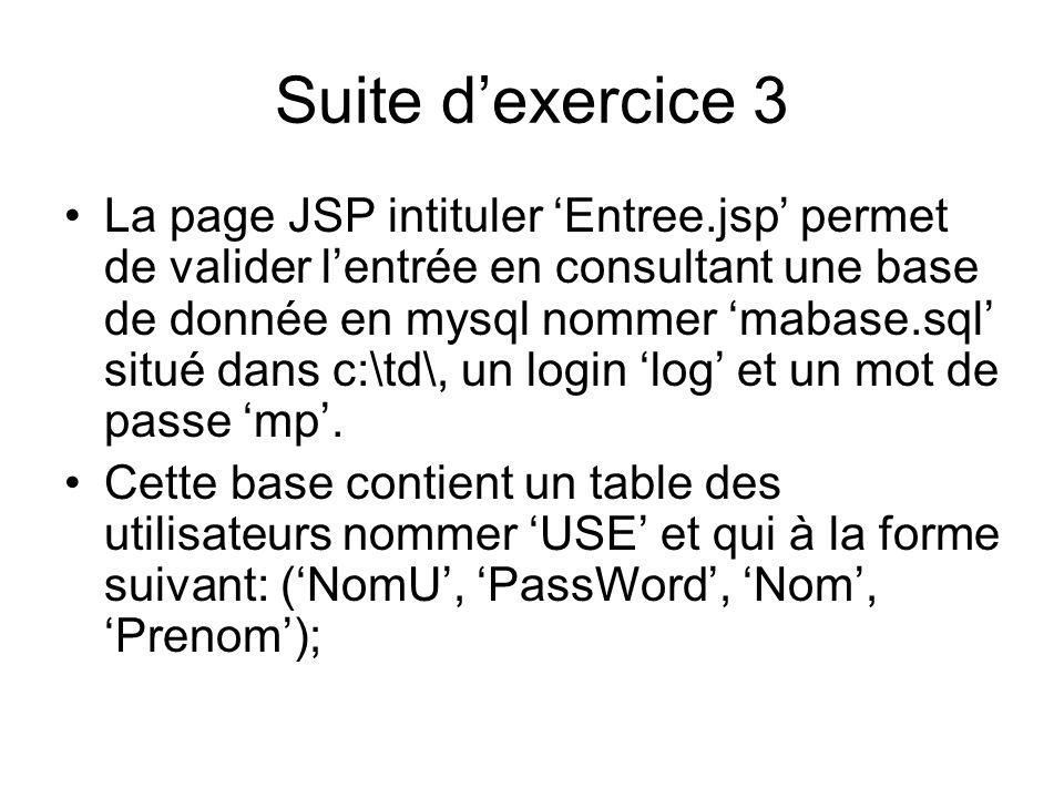 Suite dexercice 3 La page JSP intituler Entree.jsp permet de valider lentrée en consultant une base de donnée en mysql nommer mabase.sql situé dans c: