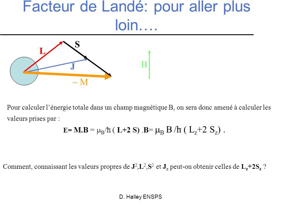 D. Halley ENSPS Comment, connaissant les valeurs propres de J 2,L 2,S 2 et J z peut-on obtenir celles de L z +2S z ? Facteur de Landé: pour aller plus