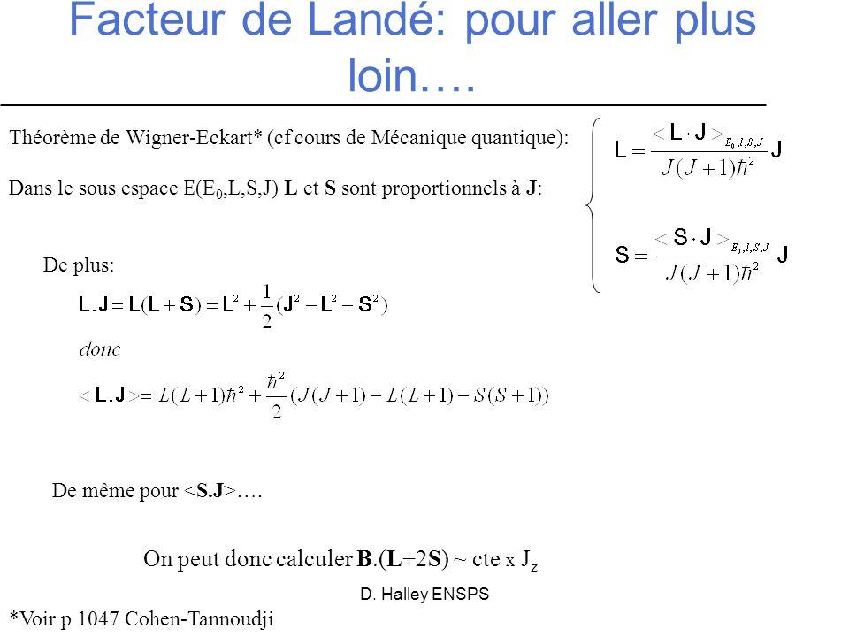 D. Halley ENSPS Facteur de Landé: pour aller plus loin…. Théorème de Wigner-Eckart* (cf cours de Mécanique quantique): Dans le sous espace E (E 0,L,S,