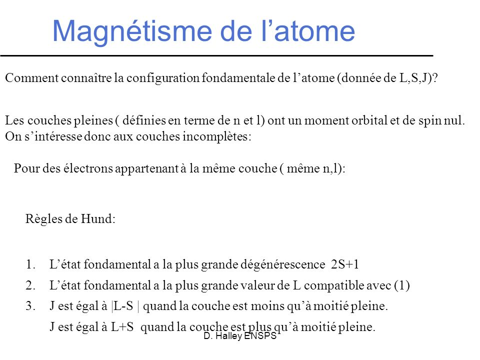 D. Halley ENSPS Magnétisme de latome Règles de Hund: 1.Létat fondamental a la plus grande dégénérescence 2S+1 2.Létat fondamental a la plus grande val