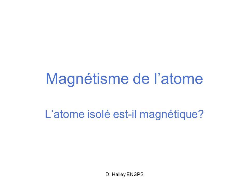 D. Halley ENSPS Magnétisme de latome Latome isolé est-il magnétique?