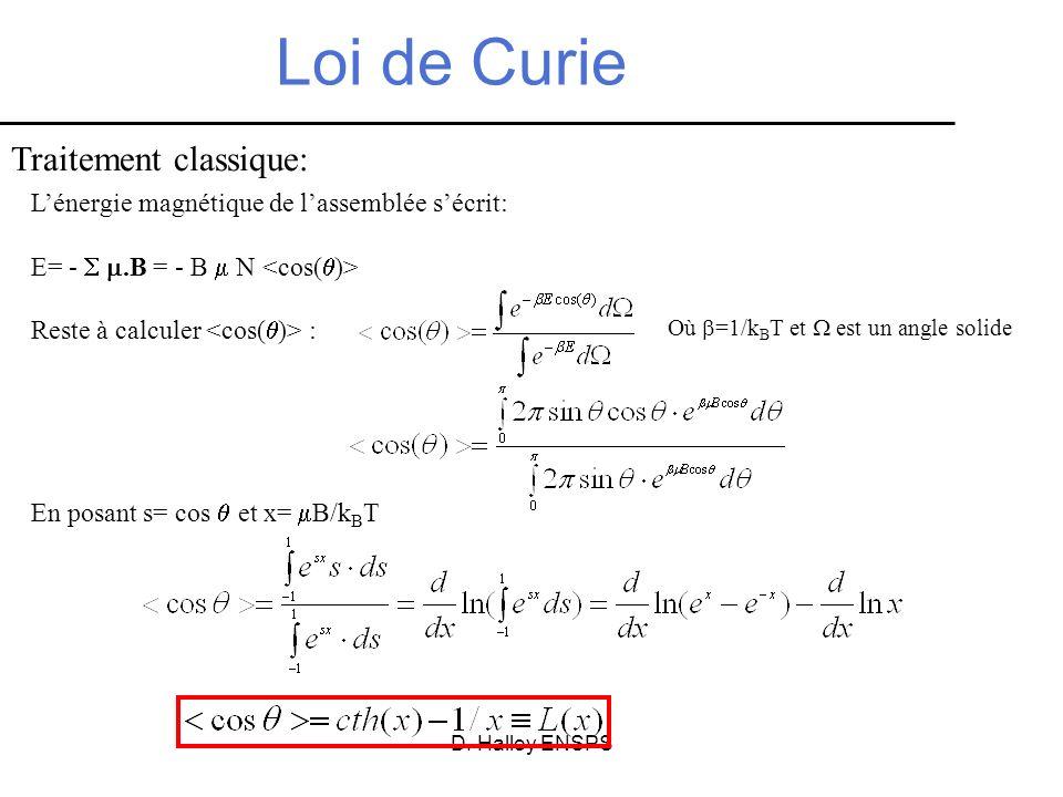 D. Halley ENSPS Loi de Curie Lénergie magnétique de lassemblée sécrit: E= -.B = - B N Reste à calculer : Traitement classique: Où =1/k B T et est un a