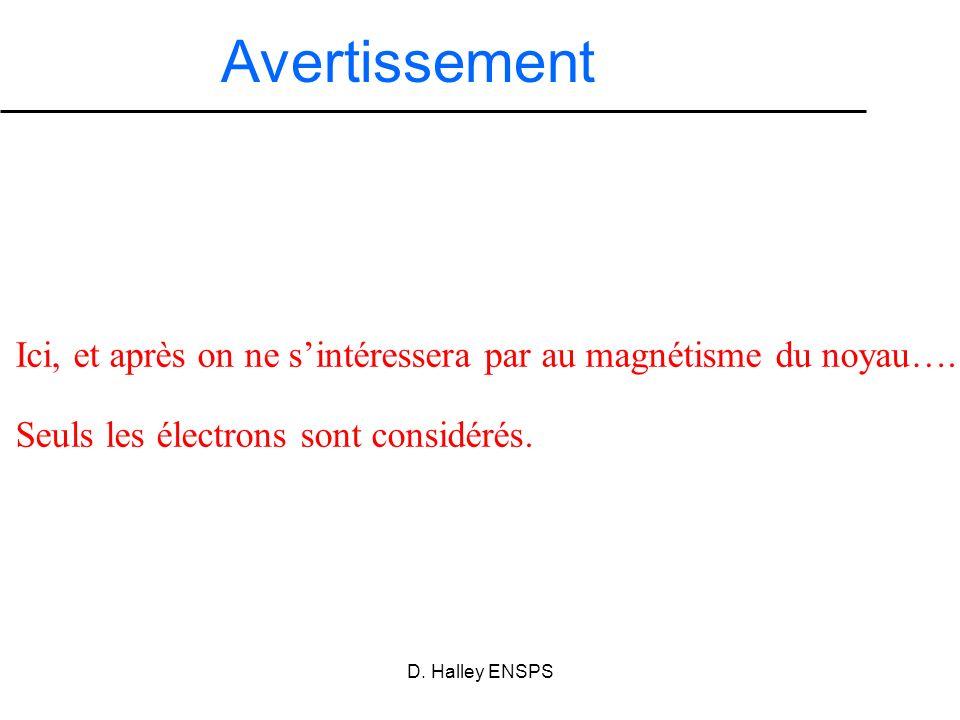 D. Halley ENSPS Avertissement Ici, et après on ne sintéressera par au magnétisme du noyau…. Seuls les électrons sont considérés.