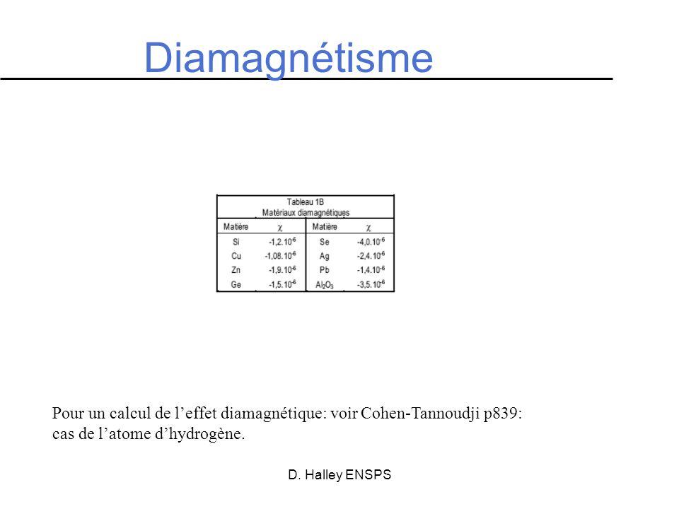 D. Halley ENSPS Diamagnétisme Pour un calcul de leffet diamagnétique: voir Cohen-Tannoudji p839: cas de latome dhydrogène.