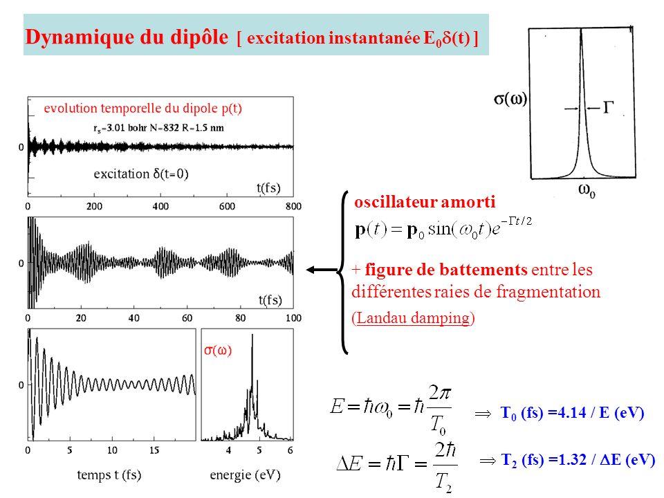 Dynamique du dipôle [ excitation instantanée E 0 (t) ] oscillateur amorti + figure de battements entre les différentes raies de fragmentation (Landau