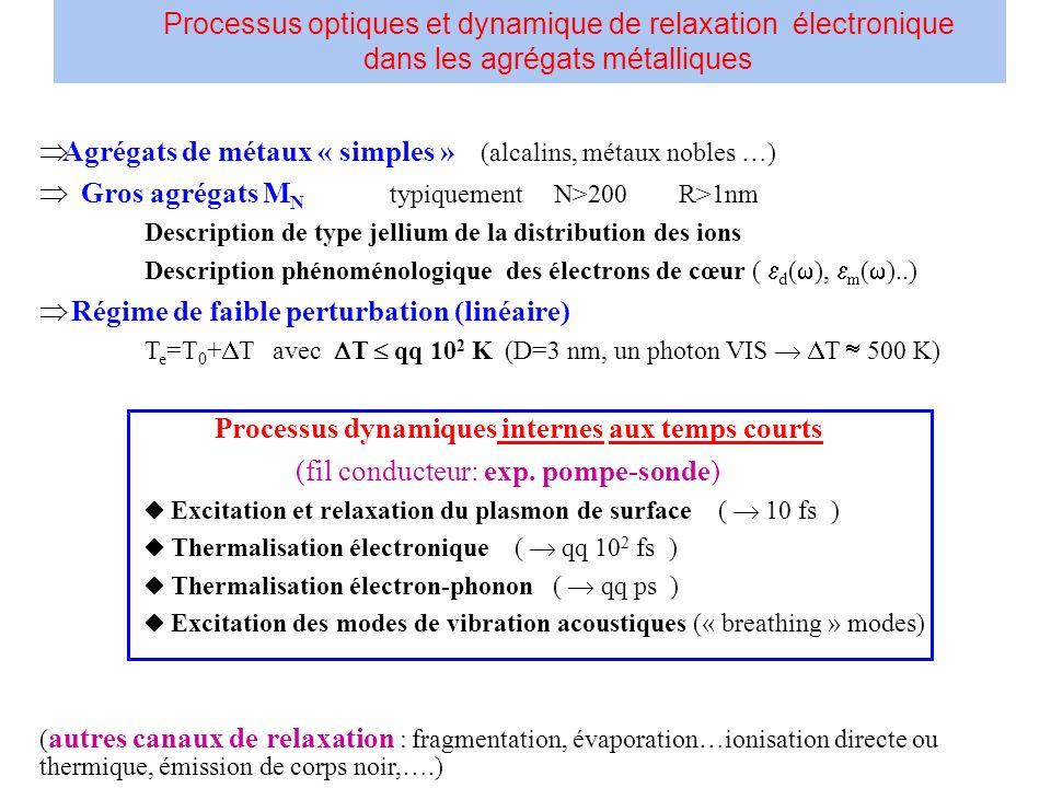DFT-Kohn-Sham état fondamental TDDFT polarisabilité dynamique complexe ( ) spectre dabsorption ( ) Im[ ( )] Transformée de Fourier ( ou largeur ) Dynamique du dipôle (relaxation du plasmon de surface) Thermalisation électronique et électron-phonon (« collisions ») Dynamique moléculaire, TD-DFT, Car-P.