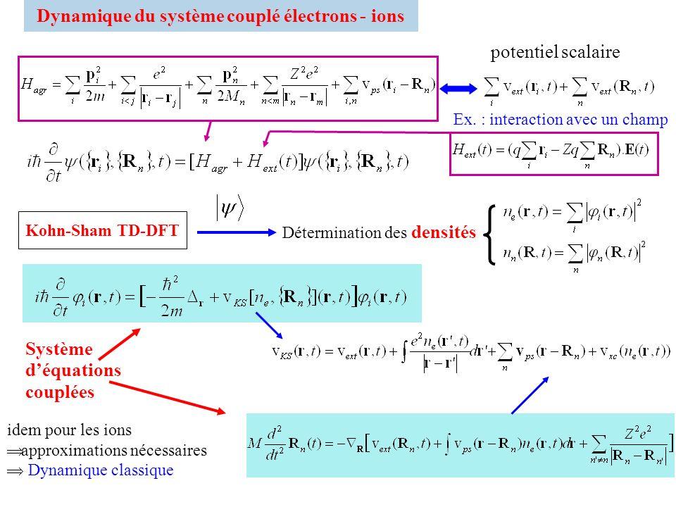 Dynamique du système couplé électrons - ions Ex. : interaction avec un champ potentiel scalaire idem pour les ions approximations nécessaires Dynamiqu