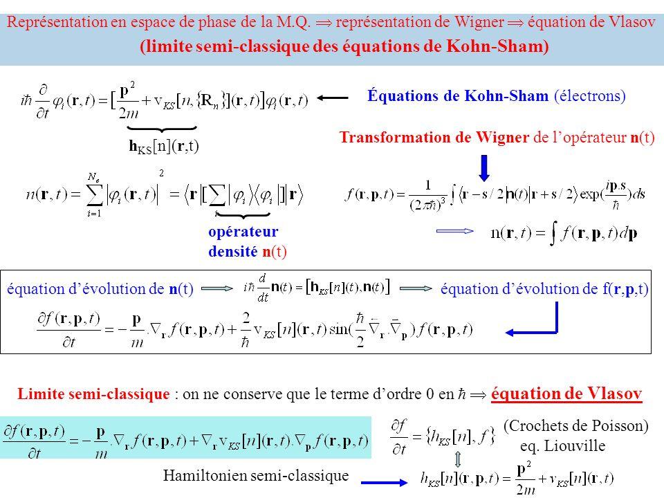 Équations de Kohn-Sham (électrons) Représentation en espace de phase de la M.Q. représentation de Wigner équation de Vlasov (limite semi-classique des