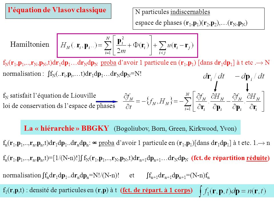 f N (r 1,p 1,..,r N,p N,t)dr 1 dp 1 …dr N dp N proba davoir 1 particule en (r 1,p 1 ) [dans dr 1 dp 1 ] à t etc. N normalisation : f N (..r i,p i,…t)d