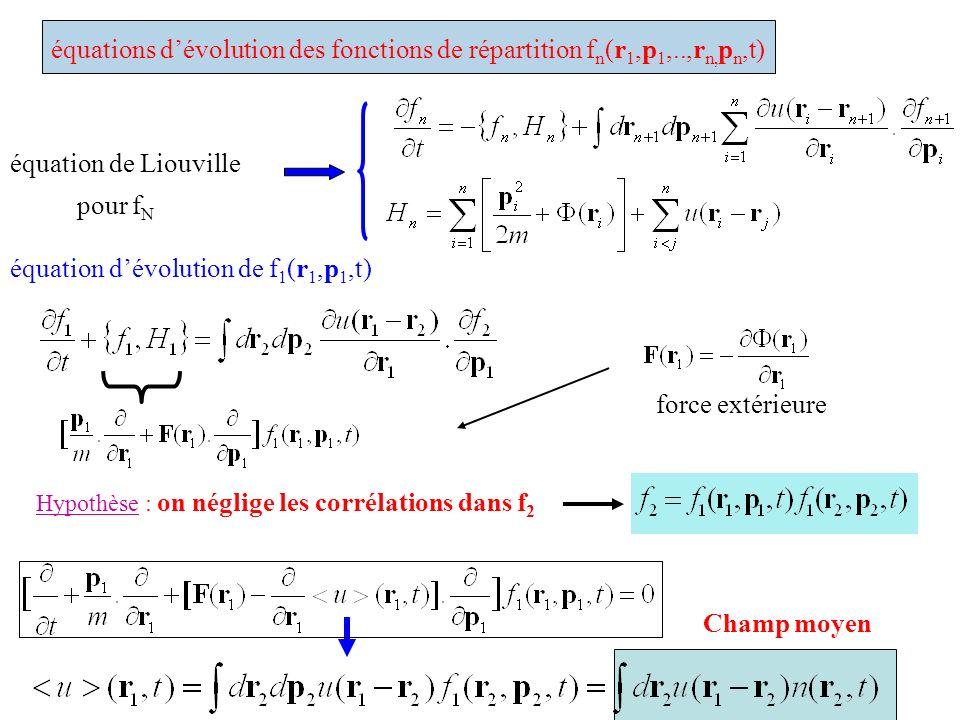 équations dévolution des fonctions de répartition f n (r 1,p 1,..,r n, p n,t) équation de Liouville pour f N équation dévolution de f 1 (r 1,p 1,t) Hy