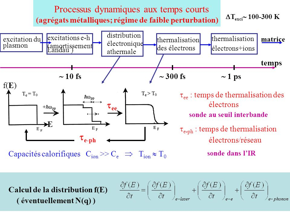 Processus dynamiques aux temps courts (agrégats métalliques; régime de faible perturbation) excitation du plasmon excitations e-h (amortissement Landa