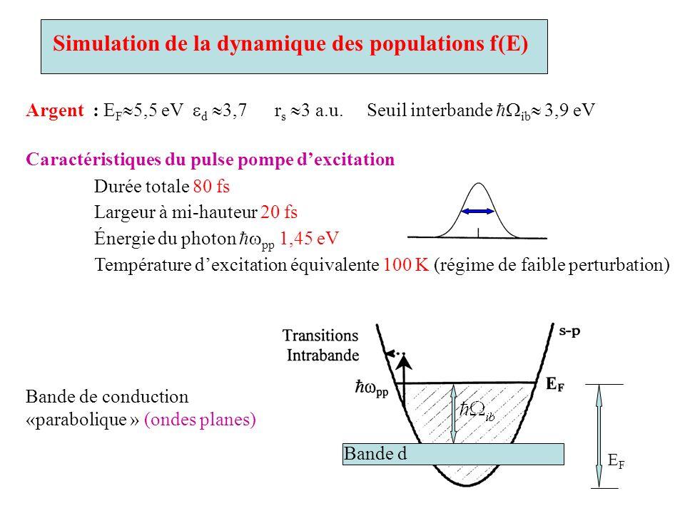 Simulation de la dynamique des populations f(E) Argent : E F 5,5 eV d 3,7 r s 3 a.u. Seuil interbande ib 3,9 eV Caractéristiques du pulse pompe dexcit