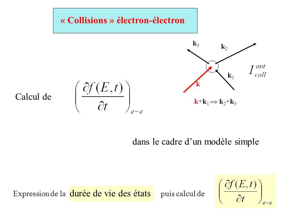 Calcul de dans le cadre dun modèle simple « Collisions » électron-électron k k1k1 k2k2 k3k3 k+k 1 k 2 +k 3 Expression de la durée de vie des états pui