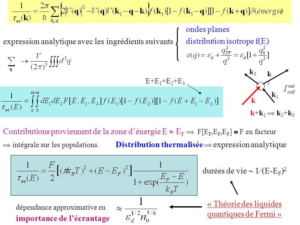 Contributions proviennent de la zone dénergie E E F F[E F,E F,E F ] F en facteur intégrale sur les populations. Distribution thermalisée expression an