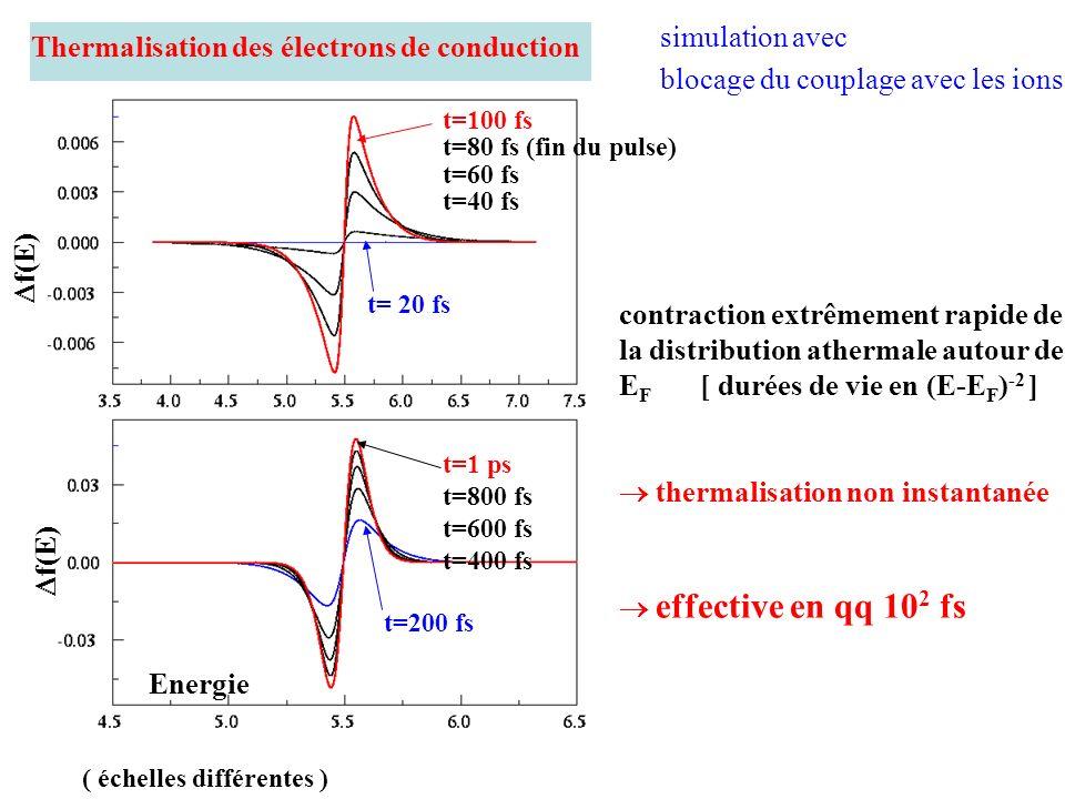 Thermalisation des électrons de conduction ( échelles différentes ) t=100 fs t=80 fs (fin du pulse) t=60 fs t=40 fs t=1 ps t=800 fs t=600 fs t=400 fs