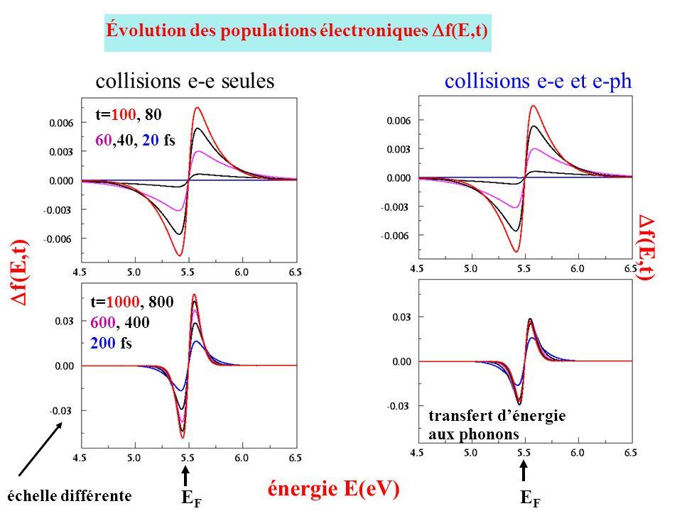 énergie E(eV) Évolution des populations électroniques f(E,t) f(E,t) EFEF t=100, 80 60,40, 20 fs t=1000, 800 600, 400 200 fs échelle différente collisi