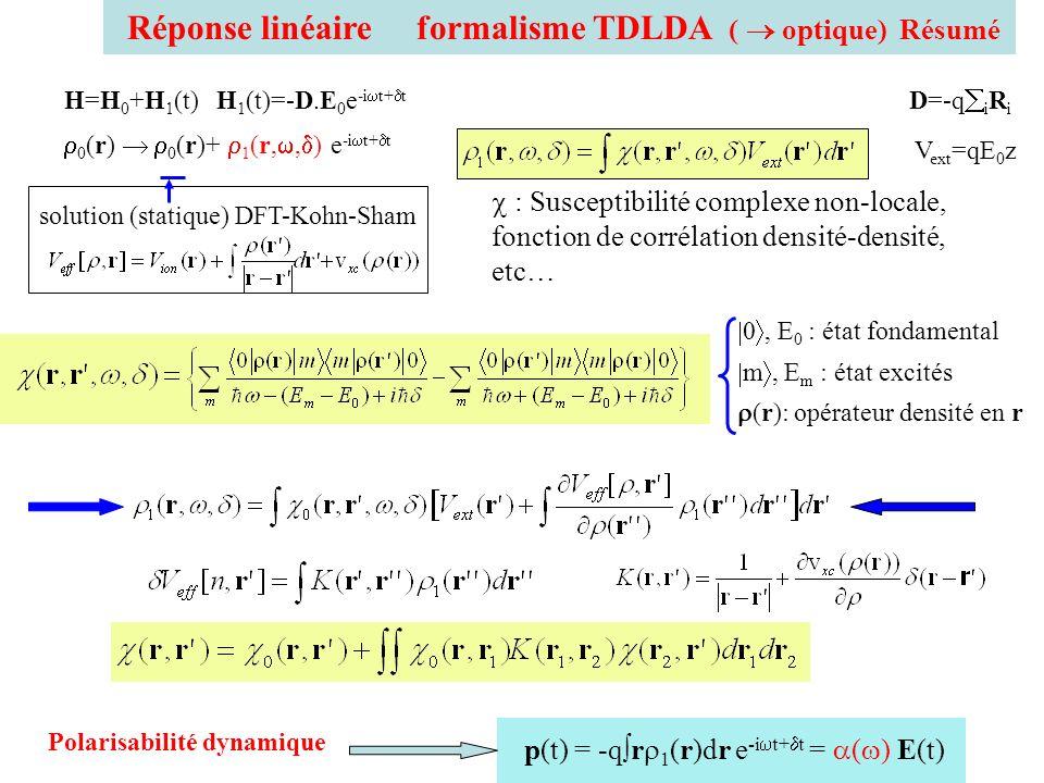 Réponse linéaire formalisme TDLDA ( optique) Résumé 0, E 0 : état fondamental m, E m : état excités (r): opérateur densité en r p(t) = -q r 1 (r)dr e