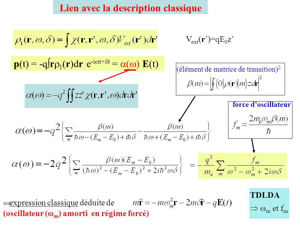 Règles de somme Règle de Thomas-Reiche-Kuhn f m : force doscillateur autres paramètres à prendre en compte masse effective pseudopotentiels polarisation des cœurs effets de taille finie Na 440 (DFT) polarisabilité statique pulsation plasmon (métal simple)